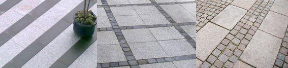 Granit fliser og granit chaussesten. Terrassebelægning eller til indkørsel.