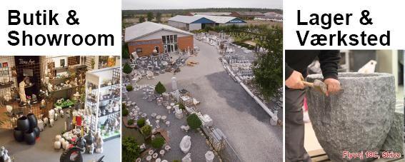 Granit til hus og have. Butik, lager og værksted hos Nordisk Granit, Skive