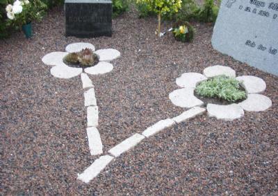 Blomsterbed på gravsted