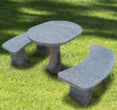 salg af Ovalt granitbord og bænkesæt