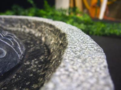 granitfuglebad med 2 polerede fisk med vand tæt på
