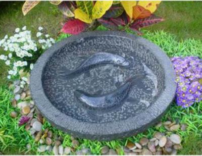 Granitfuglebad med 2 polerede fisk miljø