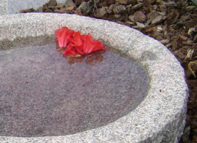 salg af Rundt granitfuglebad i rødlig indisk granit