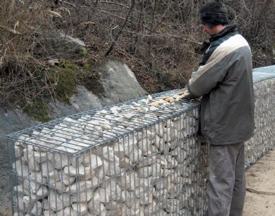 Gabion støttemur hegn