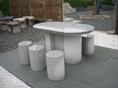 salg af Granit Havemøbelsæt - Bord med 6 taburetter