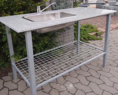 granit udekøkken med vask