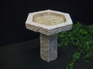salg af Granitfuglebad, 6-kantet, rosa granit