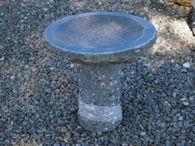 salg af Granitfuglebad rund m/poleret skål