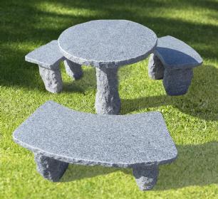 """salg af Havemøbelsæt """"Anne"""" - Granitbord med 3 bænke"""