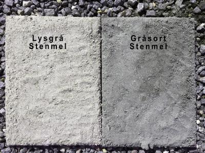 Sammenligning imellem lysgrå og gråsort stenmel