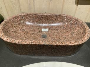salg af Oval vask rød granit - poleret