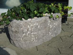 salg af Granit Plantetrug oval, rustik model - Gråsort