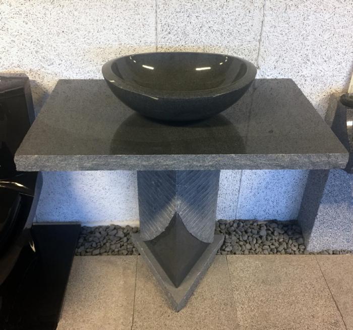 Køb Stenvask med trekantet sokkel Granitvask med bordplade og sokkel ...