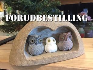 salg af Uglefamilie i natursten