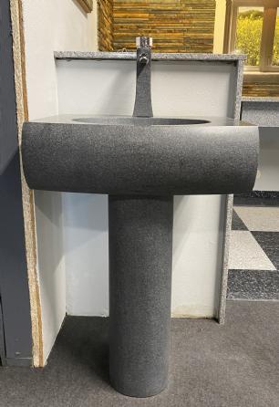 salg af Vask med søjle i gråsort matsleben granit